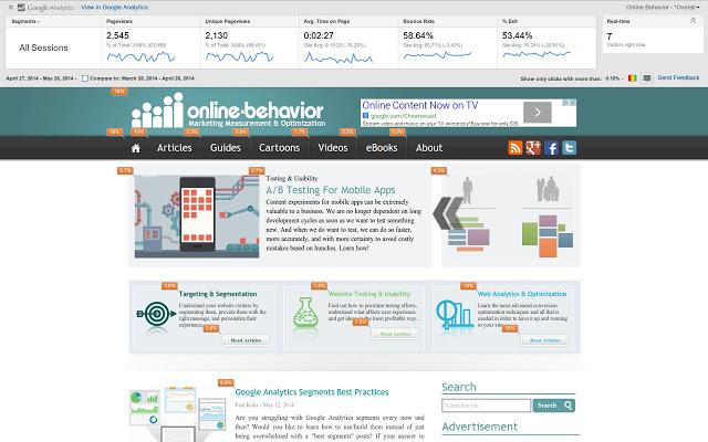 Page Analytics : consultez vos stats Google Analytics en visitant votre site !